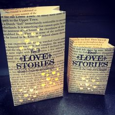 Book Centerpiece, Real Love Stories Don't Have Endings, Book Wedding Decor, 3 Luminaries, Book Themed, Library Wedding, Happily Ever After on #Etsy