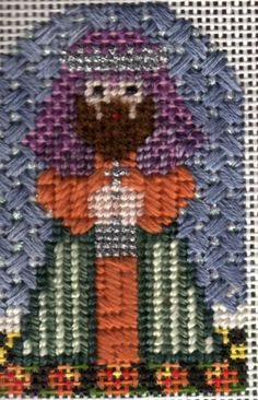 From Needledeva small nativity, stitch guide written by and available from me. Image copyright Napa Needlepoint.