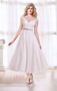 Cap Sleeve Tea Length Wedding Dress with Illusion Back