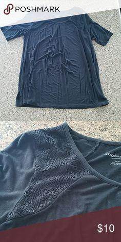 627727f6c7182 Black maternity short sleeve shirt Black maternity short sleeve shirt with  lace detail on shoulders.
