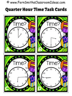 FOUR #Free #Time Task Cards in Preview Springtime Time Mega Pack - Printables, Center Games, Task Cards, Recording Sheets and Foldables For 1.MD.B.3 and 2.MD.C.7 #TPT $Paid