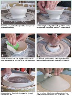 This potter starts with a thrown vessel then alters its shape and adds to it.