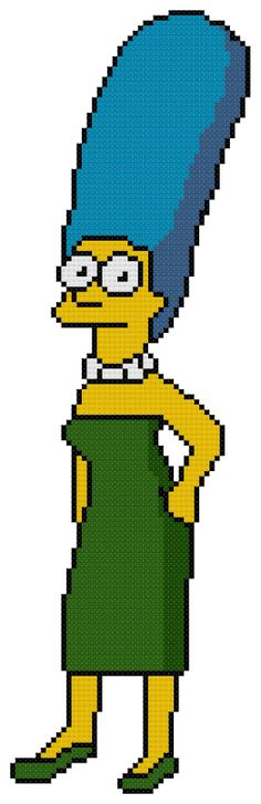 Counted Cross Stitch Pattern Marge Simpson of by D. Embroidery Art, Cross Stitch Embroidery, Embroidery Patterns, Lego Mosaic, Melty Bead Patterns, Cute Stitch, Beaded Banners, Pixel Pattern, Kids Patterns