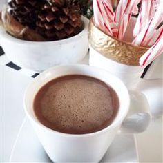 Polar Express Hot Chocolate | Serve immediately or pour into a slow cooker to keep warm. Top with whipped cream, crushed candy canes, or sprinkles.