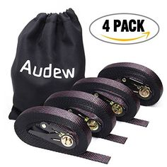 AUDEW Ratchet Tie Down Straps 4 Pack 1500Lb Max Break Strength, Heavy Duty Lashing Straps Ratcheting Tiedowns Locking Loops Cargo Straps for Moving Appliances Camping Motorcycle Boat Trailer ATV UTV  ✔ SUPERIOR QUALITY RATCHET STRAP SET : AUDEW ratchet tie down straps are manufactured with top rated industrial grade material for complete cargo security. Anodized Ratchet, tough but pliable loops prevents cargo from scratch or marks.  ✔ SAFETY & PRACTICAL : AUDEW cargo tie down straps 4 ...
