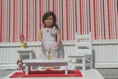 Hand made wooden American girl doll furniture and other 18 inch dolls sofa table coffee table painted white