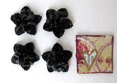 Vintage Plastic Cabochon Black Star Rose by BumbershootSupplies, $3.00