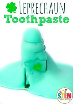 Leprechaun Toothpaste! This green leprechaun toothpaste is a must-try science activity this St. Patrick's Day for kindergarteners and first grade kids this spring! #STEAMforkids #StPatricksDay #Scienceforkids #theSTEMLaboratory #leprechauns