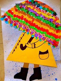 Umbrella craft idea for kids Spring Art Projects, School Art Projects, Spring Crafts, Kindergarten Art, Preschool Art, Kids Crafts, Arts And Crafts, Arte Elemental, Classe D'art