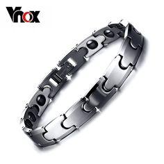 Vnox 100% Tungsten Bracelet Bangle Hematite Health Care Couples Jewelry Top Quality