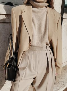 The Level Store Neutral Blazer , Chinti and Parker Neutral Roll-neck Sweater , Arket Wool Flannel Trousers , Jonak Lace-up Boots , Bottega Veneta Arco 33 Leather Bag Cream Aesthetic, Classy Aesthetic, Aesthetic Fashion, Aesthetic Clothes, Aesthetic Outfit, Aesthetic Black, Aesthetic Vintage, Classy Outfits, Casual Outfits