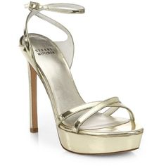 Stuart Weitzman Bebare Metallic Leather Strappy Platform Sandals ($270) ❤ liked on Polyvore featuring shoes, sandals, heels, apparel & accessories, gold, ankle strap high heel sandals, platform sandals, strappy heel sandals, leather strap sandals and metallic sandals