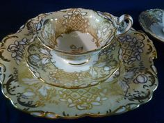 COALPORT TEA & COFFEE CUP AND SAUCER & CAKE ADELAIDE THISTLE GOLD c183O