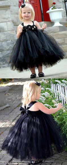 Black Flower Girl Dresses Cute, Tutu Flower Girl Dresses Princess,Square Neckline Tulle Tea-length Flower Girl Dresses