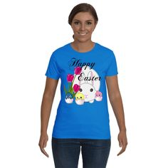 Funny Holiday Funny t-shirt, Funny sayings Happy Easter With Rabbits and Chicks Graphic tee. Adult tees, shirts for Women.