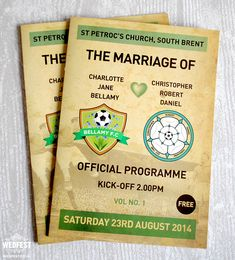 Football Programme Wedding Order Of Service M Booklet Http Www Wedfest