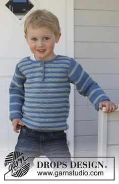 """Crochet DROPS jumper with vent and button band at the front of neck in """"Merino Extra Fine"""". Size 3 - 12 years. ~ DROPS Design FREE PATTERN"""
