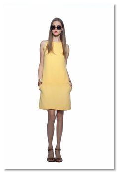 (Summer) Lemondrop Colorblock Halter Dress                  (Spring) Brown Fade Emmy Sunglass                                    (Spring) Camel Leather Woven Bangle                                    (Spring) Bone Leather Woven Bangle                                    (Spring) Dk Amber Peyten Chunky Heel Sandal
