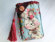 Samsung S5 HTC LG Sony  - Country Rabbit  Pouch from Lily's Handmade - Desire 2 Handmade Gifts, Bags, Charms, Pouches, Cases, Purses by DaWanda.com
