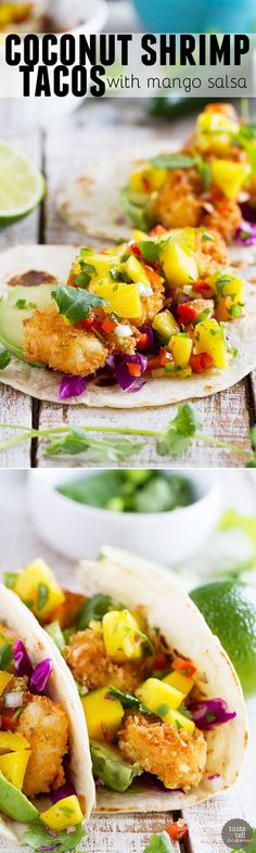 Crispy coconut crusted shrimp are topped with a sweet and spicy mango salsa in this Coconut Shrimp Taco Recipe that brings a taste of the tropics to taco night!