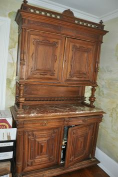 Monumental English Cupboard with Marble Top
