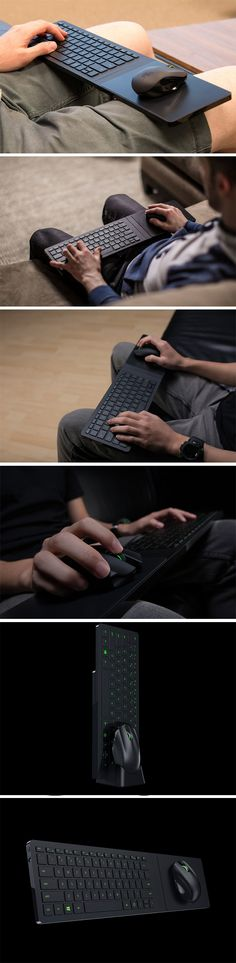 The Razer Turret, a completely wireless Keyboard and Mouse kit that sits vertically on your desk or table and unfolds on your lap when you want it to. The  Turret was built for a specific scenario. Couch Gaming. Designed to wirelessly connect to your device via Bluetooth (preferably to your TV), the Turret  is a full scale keyboard, built in with a smooth mousepad to run your wireless mouse across. BUY NOW!