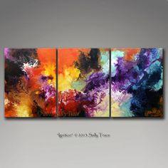 Grand art abstrait abstraite ensemble imprimé sur toile