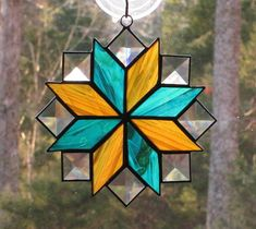 Stained Glass Suncatcher Quilt Pattern  8 Point Star Amber