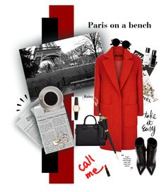 """""""Rainy day on a bench"""" by kallimanis ❤ liked on Polyvore featuring Assouline Publishing, Jaeger, Bunn, Retrò, Yves Saint Laurent, Karl Lagerfeld, American Apparel, Old Navy, Chanel and Pasotti Ombrelli"""