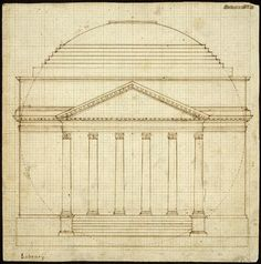 Thomas Jefferson. South Elevation of the Rotunda, begun 1818, completed March 29, 1819. Ink and pencil drawing