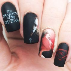 "Instagram media by anna_xiewei - The Phantom of the Opera is here... inside my mind. ""The Phantom of the Opera"" nail art. I adore the musical, but the movie with Gerard Butler and Emmy Rossum is forever in my heart ❤️ So, I did a mani inspired by it. Handpainted with acrylic paints as always. Have a nice time everyone!"