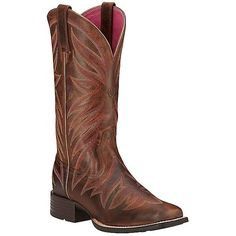 Ariat Brilliance Women's Sassy Brown w/ Fancy Stitching Square Toe... (£130) ❤ liked on Polyvore featuring shoes, boots, ariat boots, square toe western boots, brown boots, leather cowgirl boots and square toe boots