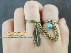 Ring Bohemian Boho Two Finger Ring Feather Turquoise Charm Bronze Chain Drape Jewelry MB618