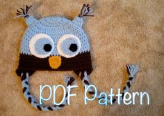 PATTERN  Owl Hat size newborn to adult baby kid animal by swellamy, $4.99