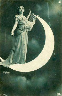 Vintage French hand tinted photo postcard - Lady with harp standing on moon - Victorian Paper Ephemera Paper Moon, Vintage Photographs, Vintage Images, Love Moon, Shoot The Moon, Moon Photos, Sun And Stars, Moon Magic, Poses For Pictures
