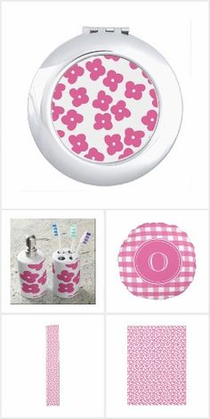 Bright Pink mix-and-match pattern designs in stripes, gingham and floral designs.