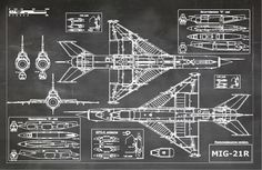Blueprint Art of Jet Plane Russian MIG 21R by BigBlueCanoe