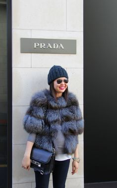 Prada blue fur jacket