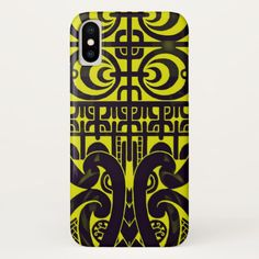 Bright symmetrical tribal Marquesas tattoo design Apple Iphone X phone case