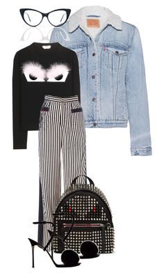 mannequinxo x Studs + Stripes // chanel by xoflawlessmannequinxo on Polyvore featuring polyvore fashion style Fendi Levi's MATERIAL MEMORIE clothing