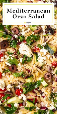 Recipe: Mediterranean Orzo Salad Recipe: Mediterranean Orzo Salad,Salat This Mediterranean orzo salad is full of nutritious veggies and is tossed in a delicious and simple oregano vinaigrette. It's the kind of make-ahead dish you'll. Easy Mediterranean Diet Recipes, Mediterranean Dishes, Orzo Salat, Cooking Recipes, Healthy Recipes, Healthy Dishes, Healthy Meals, Greek Recipes, Soup And Salad