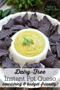 Dairy-Free Instant Pot Queso | I know my Texan food groups really, really well. And chips and queso are in a category all on their own! But what if you can't have dairy? Life's too short to live without queso! So, I created this Dairy-Free Instant Pot Queso that's super nourishing, allergy-friendly, and so budget-friendly! Even my kids said it tastes like the real thing! | TodayInDietzville.com