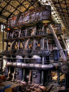 Steampunk, industrial, beauty Evan grew up in a factory like this. Abandoned Buildings, Abandoned Places, Abandoned Factory, Industrial Architecture, Industrial Photography, Dieselpunk, Zeppelin, Photography Photos, Parks