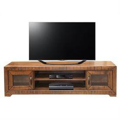 Egypt Solid Hardwood Timber 2 Door Lowline TV Unit - Black Wood Finish