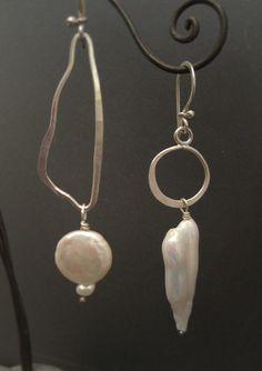 E838 asymmetrical pearls by Experimetal on Etsy