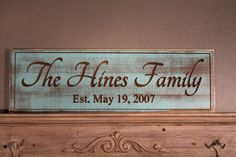 Personalized Family Name Established Sign by Timberlinewoodworks