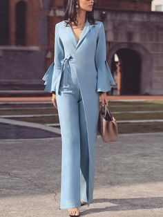 Irregular Flared Sleeve Knot Side Wide Leg Jumpsuit fashion fashion outfits fashion trends fashion i New Fashion, Trendy Fashion, Plus Size Fashion, Autumn Fashion, Fashion Tips, Fashion Trends, Fashion Ideas, Style Fashion, Classy Fashion