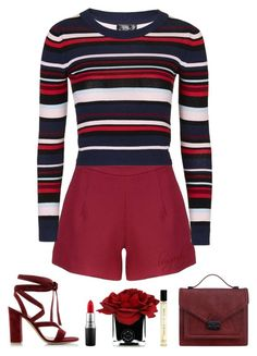 """burgandy."" by emilykatephilip on Polyvore featuring Gianvito Rossi, Topshop, Hervé Gambs, MAC Cosmetics, Loeffler Randall, women's clothing, women, female, woman and misses"
