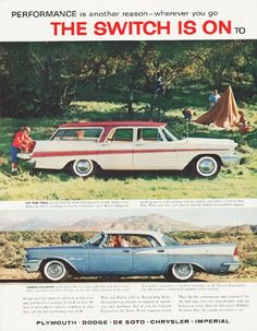 """Description: 1957 CHRYSLER vintage magazine advertisement """"The Switch Is On"""" . (model year -- Performance is another reason -- wherever you go The Switch . Us Cars, Sport Cars, Chrysler Saratoga, Chrysler Imperial, Car Advertising, Chevrolet Camaro, Vintage Ads, Vintage Trends, Plymouth"""