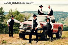 County boys and there truck. Great wedding picture!